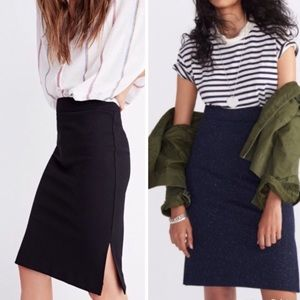 Madewell Column Side Slits Skirt In Speckle Size S